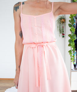 Dreamy peach 70s dress S-M