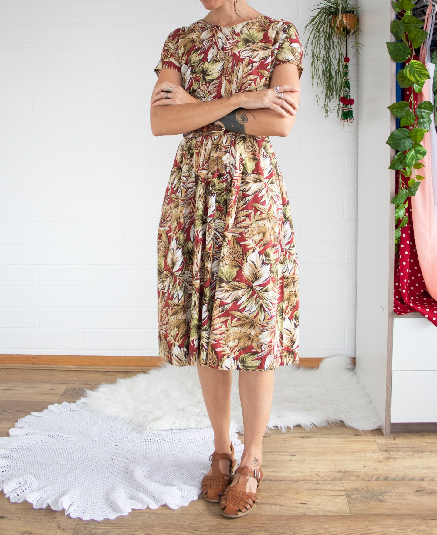 Autumnal 80's cotton dress M