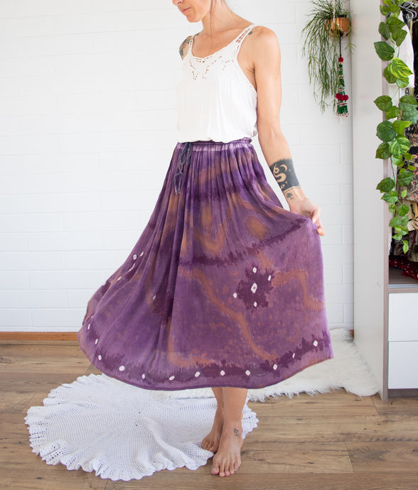 Amethyst Indian cotton broomstick skirt XS-S-M