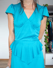 Load image into Gallery viewer, 1970s teal disco dress