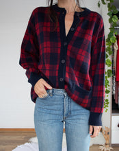 Load image into Gallery viewer, Tartan vintage knit cardi XS-S-M