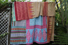 Load image into Gallery viewer, Queen Kantha Quilt #339