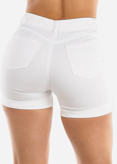 Butt Lifting Torn White Denim Shorts