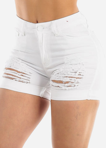 Image of Torn White Denim Shorts