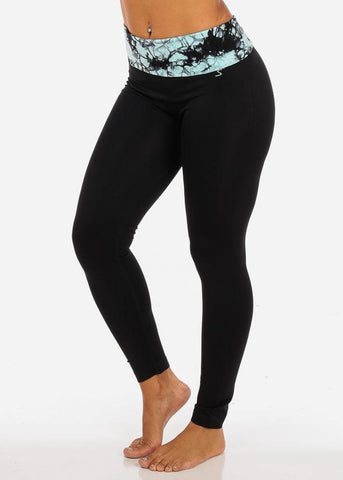 Image of One Size Fold Over Waist Tie Dye Mint Print Black Leggings