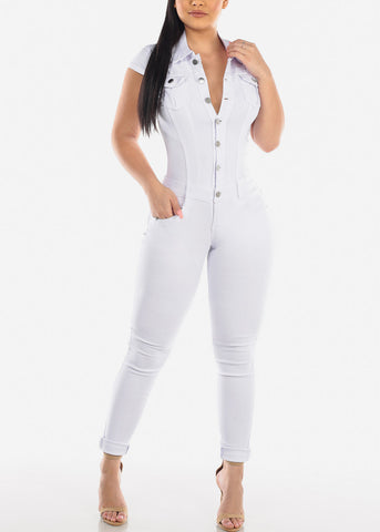 Button Up White Denim Jumpsuit