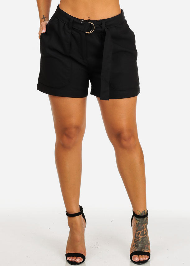 Belted High Rise Black Linen Shorts