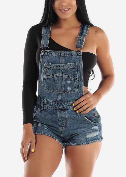 Casual Ripped Denim Short Overall