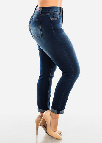 Plus Size Roll Cuff Dark Wash Jeans