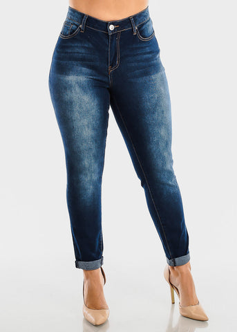 Image of Plus Size Roll Cuff Dark Wash Jeans