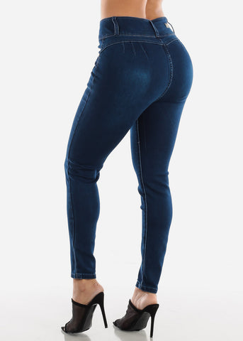 High Rise Butt Lifting Dark Wash Skinny Jeans