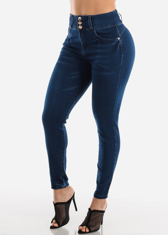 Image of High Rise Butt Lifting Dark Wash Skinny Jeans