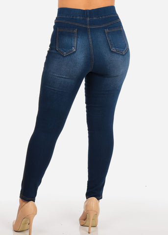 Plus Size High Waisted Ripped Ankle Jeans