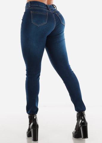 Image of Dark Wash Mid Rise Skinny Jeans