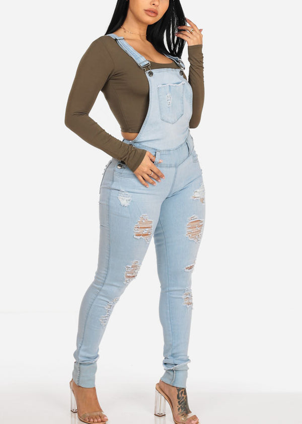 Distressed Light Wash Denim Overall