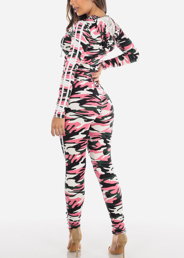 Pink Camouflage Crop Top & Pants (2 PCE SET)