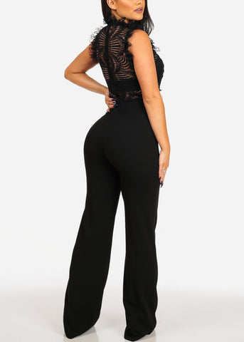 Women's Junior Ladies Sexy Night Out Club Wear Party Gala Fashionable Trendy High Neck Floral Lace Mesh Ruffle Detail Solid Black Wide Legged Jumpsuit