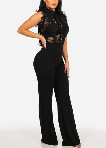 Image of Women's Junior Ladies Sexy Night Out Club Wear Party Gala Fashionable Trendy High Neck Floral Lace Mesh Ruffle Detail Solid Black Wide Legged Jumpsuit