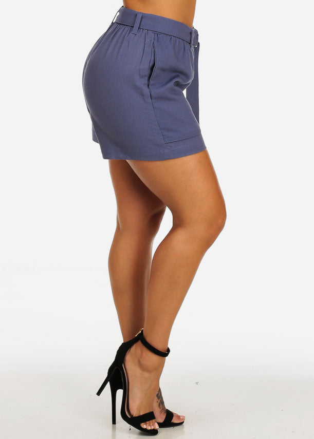 Belted High Rise Purple Linen Shorts