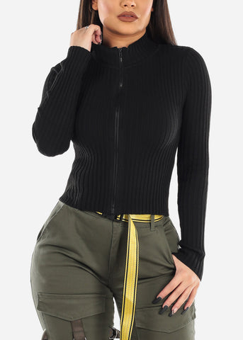 Black Zip Up Ribbed Sweater
