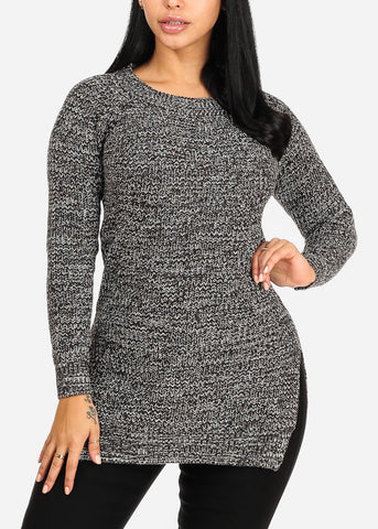 Image of Dark Grey Knitted Long Sleeve Round Neckline Slit Sides Cozy Sweater Top