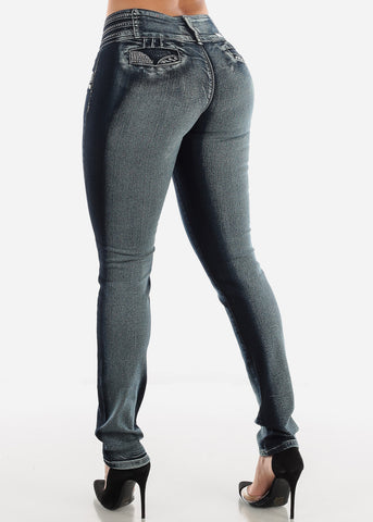 Image of Butt Lifting Low Rise Dark Wash Skinny Jeans