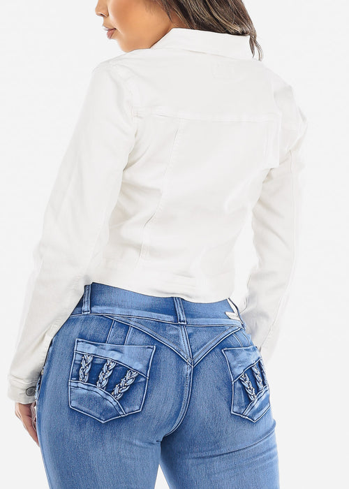 Button Down White Cropped Jean Jacket