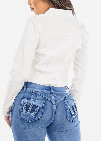 Image of Button Down White Cropped Jean Jacket