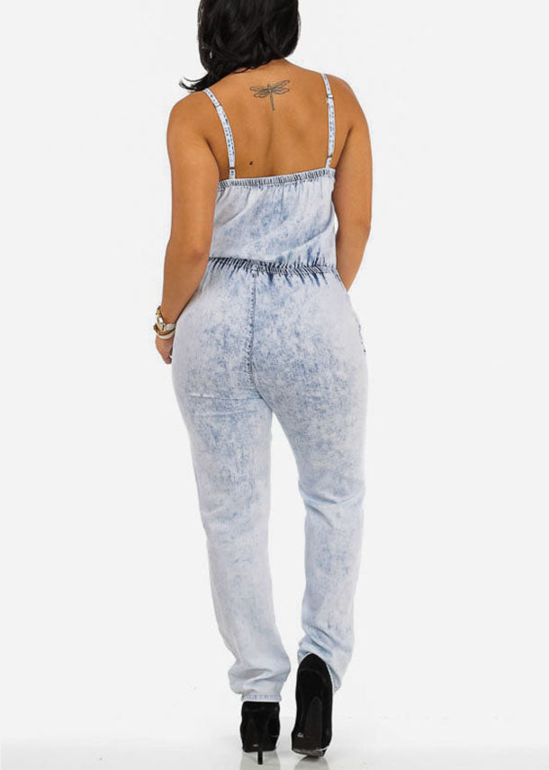 Light Wash Elastic Waist Denim Jumpsuit