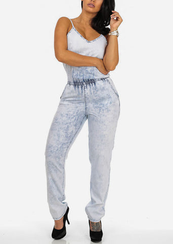Image of Light Wash Elastic Waist Denim Jumpsuit