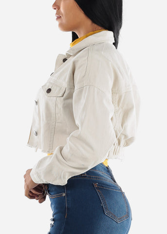 Image of Cropped Raw Hem White Denim Jacket