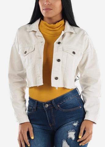 Cropped Raw Hem White Denim Jacket