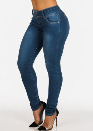 Med Wash Levanta Cola Mid Rise Skinny Jeans