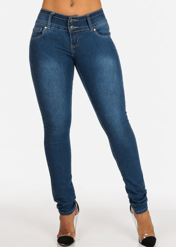 Image of Colombian Design Med Wash 2 Button Closure Butt Lifting Skinny Jeans