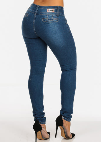 Colombian Design Med Wash 2 Button Closure Butt Lifting Skinny Jeans