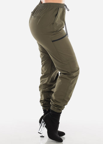 Olive Jogger Pants Track Style