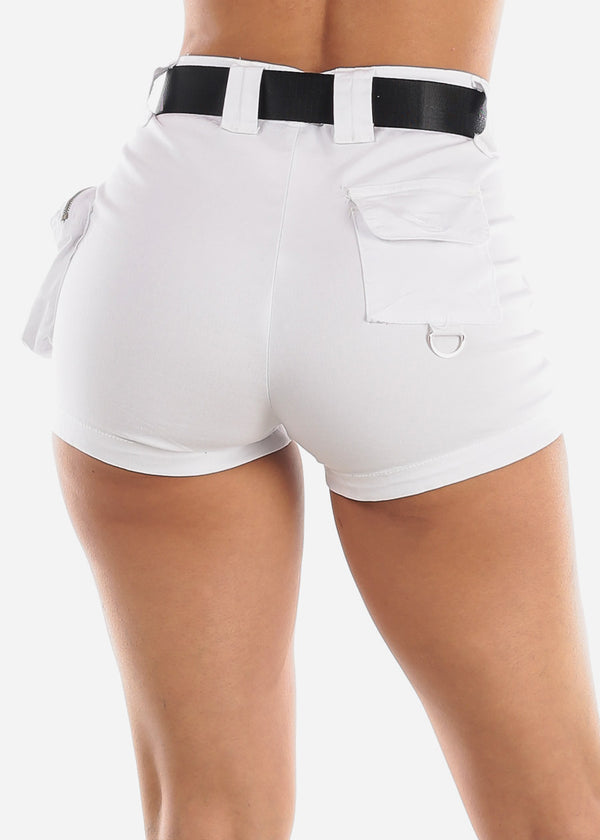 High Waisted White Cargo Shorts