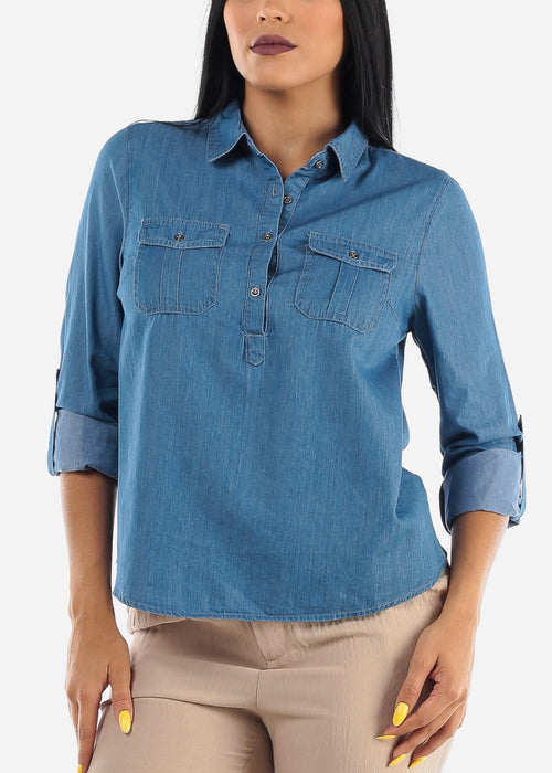 Half Button Up Med Wash Denim Top