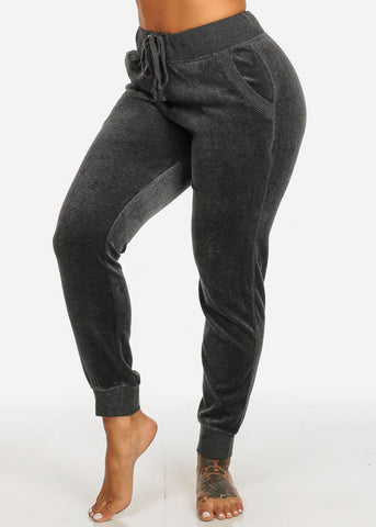 Image of Charcoal 2-Pocket High Rise Drawstring Waist Velvet Stretchy Pants