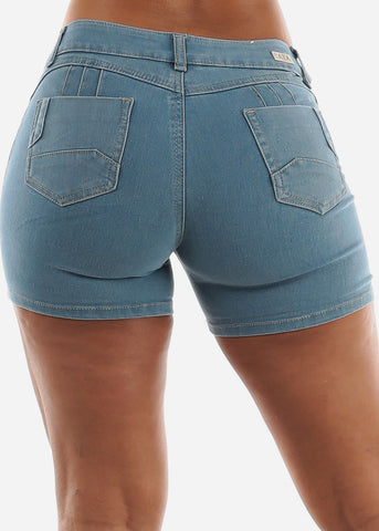 Levanta Cola Torn Light Denim Shorts