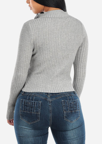 Grey Zip Up Ribbed Sweater