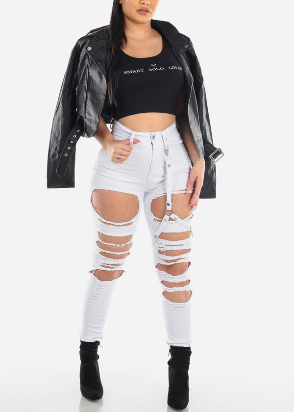 Buckle Strap Torn White Skinny Jeans