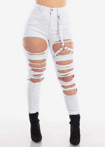 Image of Buckle Strap Torn White Skinny Jeans
