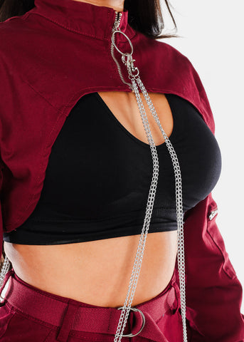 Cropped Underbust Burgundy Jacket W Chain