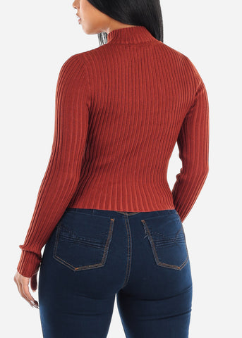 Image of Brick Zip Up Ribbed Sweater