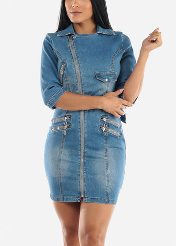 Image of Zip Up Belted Denim Mini Dress