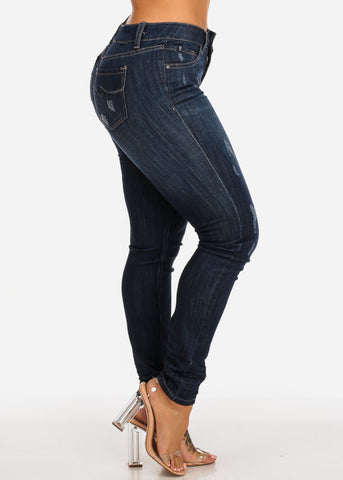 Image of Dark Mid Rise Distressed Skinny Jeans