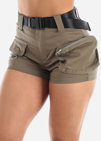 Image of High Waisted Olive Cargo Shorts