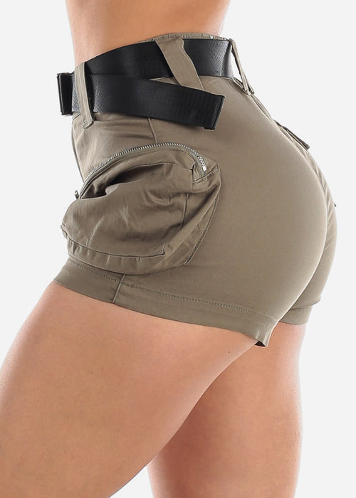 High Waisted Olive Cargo Shorts