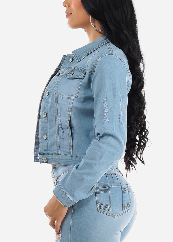 Ripped Light Wash Denim Jacket